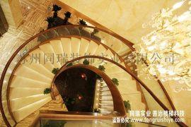 酒店钢结构旋转楼梯 厂家实景工程案例