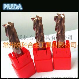 PREDA 整体硬质合金钨钢合金立铣刀 HRC55度 古铜色涂层圆鼻铣刀