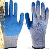 厂家直销L218粗涤棉乳胶皱纹手套 透气舒适 防滑耐磨 耐低温