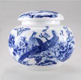 景德鎮釉下粉彩陶瓷茶葉罐仿古高白泥喜鵲硬幣存儲罐通用
