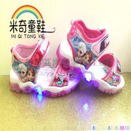 外贸新款童鞋凉鞋 卡通 冰雪奇缘Frozen 灯鞋