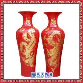 景德镇陶瓷中国红落地大花瓶现代家饰客厅酒店别墅装饰摆件