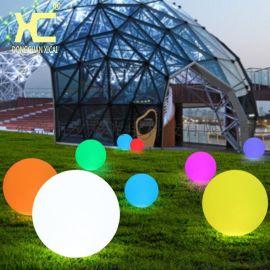 夕彩led发光球 圆球灯防水草坪灯充电户外落地灯遥控七彩庭院球灯