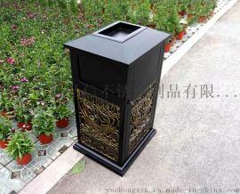 楼盘不锈钢户外垃圾桶定做 香槟金户外垃圾桶