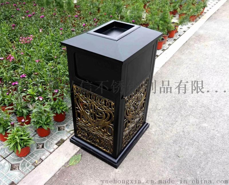 樓盤不鏽鋼戶外垃圾桶定做 香檳金戶外垃圾桶