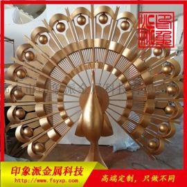出口定制孔雀不锈钢摆件工艺品制作厂家