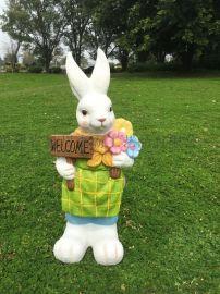 户外树脂工艺品仿真动物兔子 玻璃钢兔子雕塑
