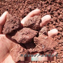 本格供应 天然红色火山岩 黑色洞石 火山石颗粒