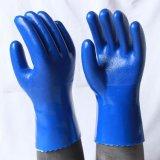pvc蓝磨砂防滑耐油耐酸碱工业劳保手套