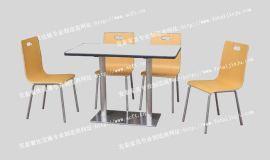 快餐桌椅 不锈钢圆盘双脚四人分体**休闲餐桌椅ft4-047