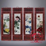 景德镇陶瓷国画四条屏实木框