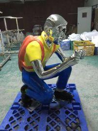 玻璃钢雕塑电镀彩绘人物定制园林广场摆设厂家