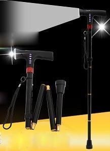 时尚FM收音机户外折叠登山杖 带LED灯折叠拐杖