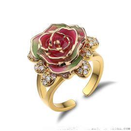 黛雅出口外贸单精品玫瑰饰品 镀金玫瑰花戒指 红渐变绿戒指 定制 批发