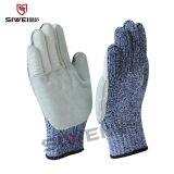 5级防割手套 掌部缝牛皮防割抗割手套,工业防穿刺手套 劳保手套