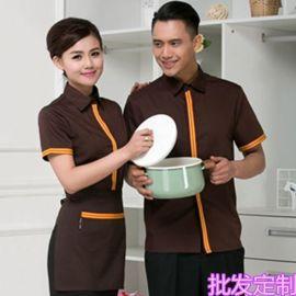 餐饮酒店工作服韩式翻领衬衫西餐厅咖啡厅短袖服务员男女工服套装