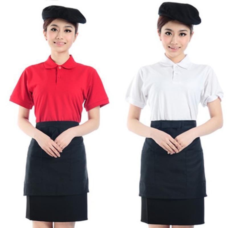 厂家现货批发快餐店男女服务员工作服短袖T恤夏装餐厅员工服制服