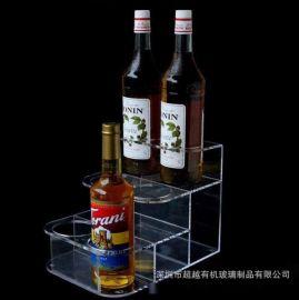 亚克力酒水架阶梯三层透明红酒陈列架亚克力啤酒架香槟酒时尚酒柜
