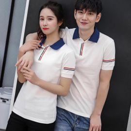 定制LOGO韩版男女大学生情侣装上衣棉短袖T恤衫班队会服定做