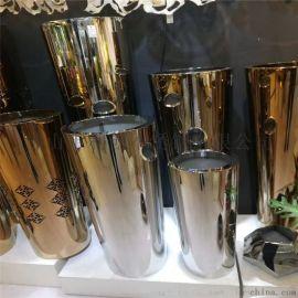 不锈钢圆柱花盆定制不锈钢酒店会所装饰花箱花钵
