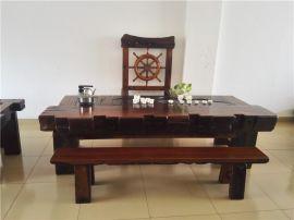 老船木茶桌椅船木沙发椅长椅背靠椅组合老船木餐桌椅