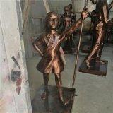 户外玻璃钢童趣雕塑小女孩玩气球仿古铜塑像造型摆设定做