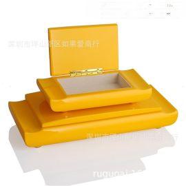 中欧式现代黄色橙色木质首饰盒简约收纳盒软装饰品样板间饰品摆件