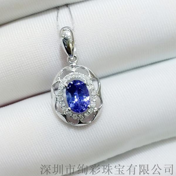 绚彩珠宝 0.9克拉椭圆形坦桑石吊坠 不含链子 18K金钻石镶嵌 坦桑石供应商