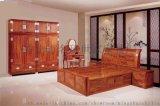 新中式刺猬紫檀红木大床1.8米名琢世家3件套价格