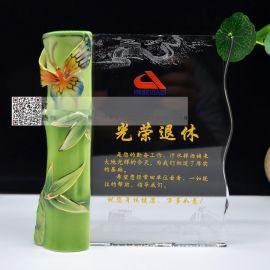 广州退休留念礼品定制,公司单位职工退休留念,陶瓷水晶奖牌