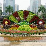 街道广场 景观小品 绿雕造型花盆卡盆花球花柱