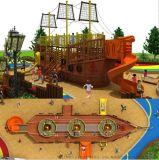 大型木質海盜船滑滑梯木製小區園林滑梯兒童戶外拓展