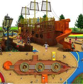 大型木质海盗船滑滑梯木制小区园林滑梯儿童户外拓展