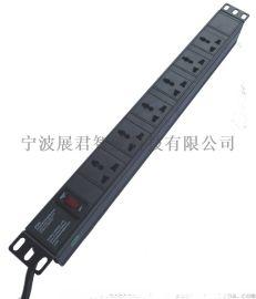 厂家直销1U黑6孔PDU机柜插座,国标带开关,带增票