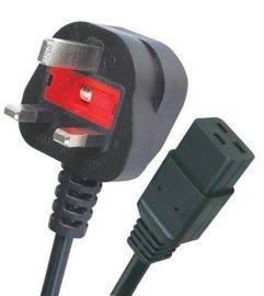 BS大英式品字尾电源线 带保险丝 英式插头电源线 英规挤压式插头