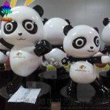 新款园林景观小品卡通熊猫造型玻璃钢雕塑 商场企业品牌店形象