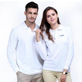 纯色全棉男女装长袖翻领运动polo衫宽松厂服工作服大码t恤刺绣标