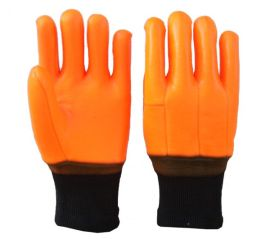 SDSHUNXING/顺兴 浸胶防寒手套 荧光PVC磨砂面复合布内衬罗口 出口劳保手套