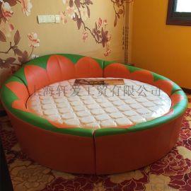 上海轩爱酒店双人床 创意向日葵圆床 多功能电动床 恒温水床