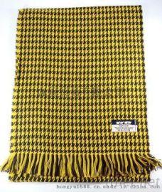 千鳥格圍巾黃色保暖透氣美觀