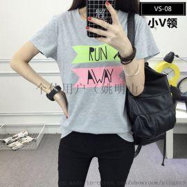 2018年夏装韩版T恤爆款短袖印花T恤连衣裙批发