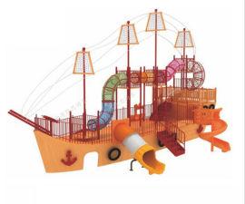北京户外木质海盗船组合滑梯,木质海盗船