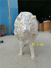 几何切面玻璃钢狮子雕塑抽象动物雕塑模型