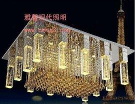 雅馨照明led三色变光水晶柱水晶吸顶灯