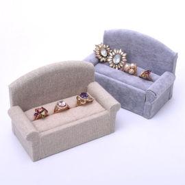 沙发首饰盒麻布 冰花绒对戒指展示架 钻戒拍摄道具