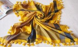 2016冬季110*110cm色織80支絲光羊毛手編穗方巾