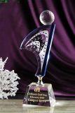 高尔夫足球水晶奖杯,比赛颁奖礼品 总杆净杆冠军奖杯制作