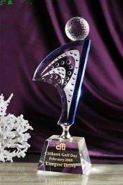 高尔夫足球水晶奖杯,比赛颁奖礼品 总杆净杆  奖杯制作
