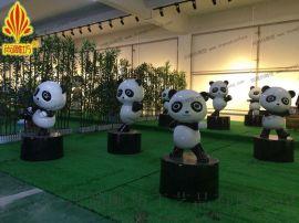小熊猫主题场景制作 万科  东平时代都荟  装饰玻璃钢卡通动物雕塑