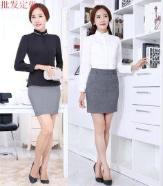 韓國女式秋季襯衫外套新款襯衫白色黑色宮廷式修身立領工裝襯衣
